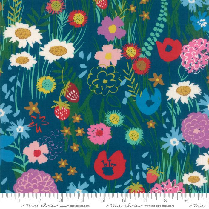 Growing Beautiful Rayon Field Flowers in Teal