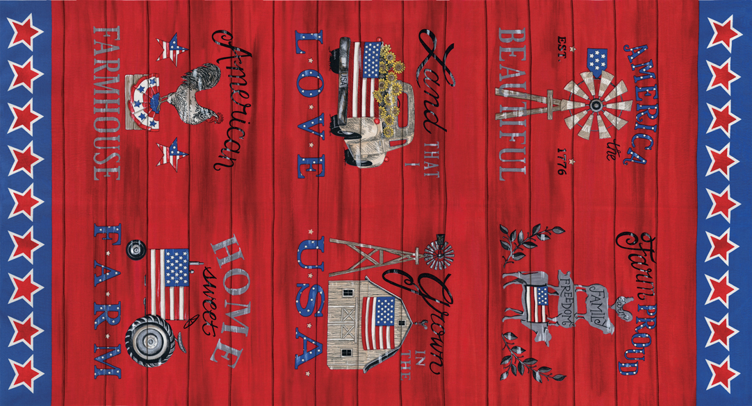 19880 13 Land That I Love Patriotic Red panel 2/3 yd each
