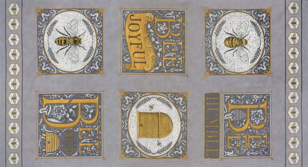 Bee Joyful - panel 24 x 44 Dove Grey