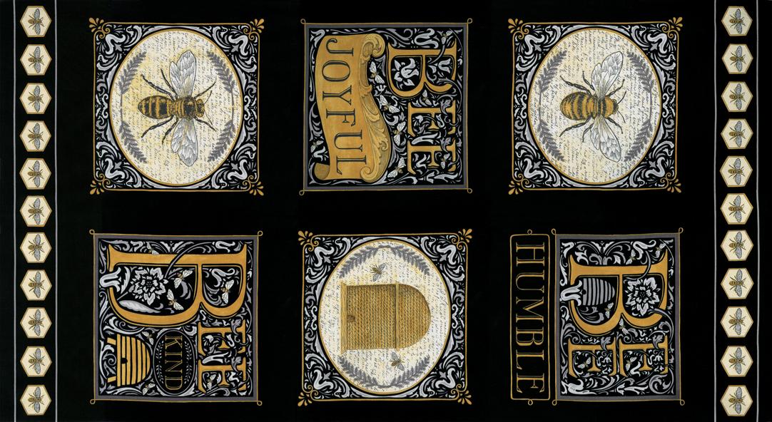Bee Joyful Panel 24 x 44 Ebony