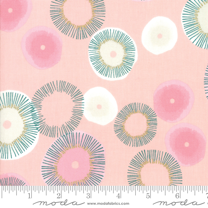 Day In Paris Metallic Bubble Gum Blooming by Zen Chic for Moda 1680-13M