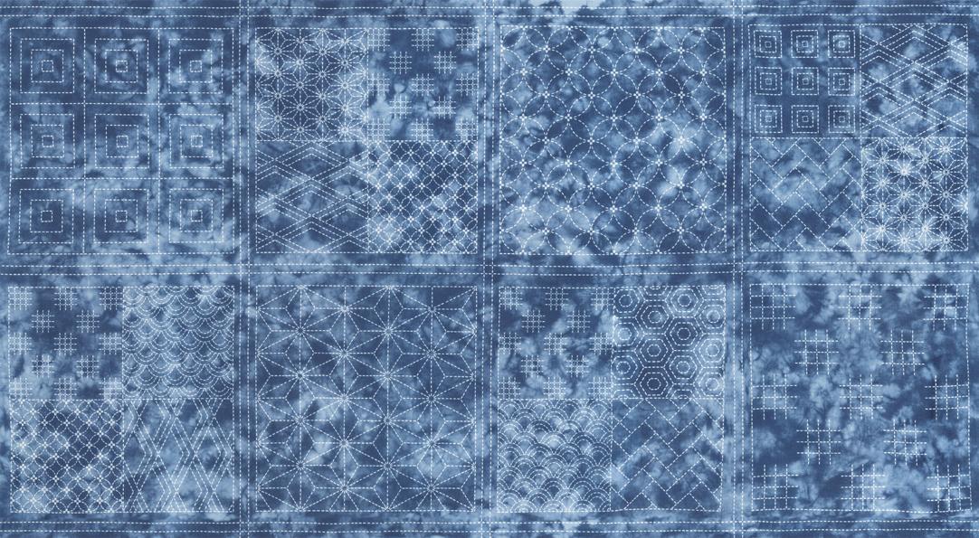 sashiko panel 2/3yd in sora