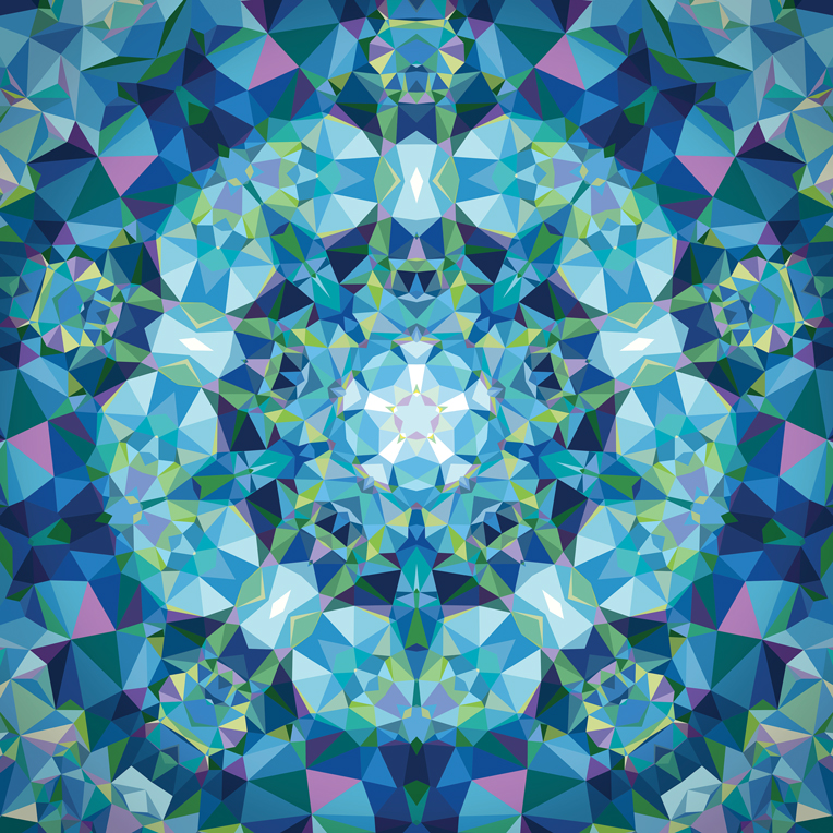 Moda Gradients Kaleidoscope Panel Blue