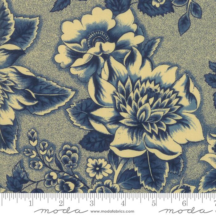 Sarahs Story - Indigo/Tan Flowers