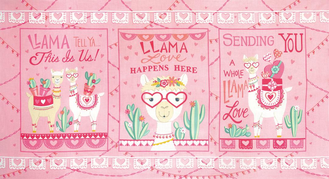Llama Love 19920-12 Panel Pretty Pink
