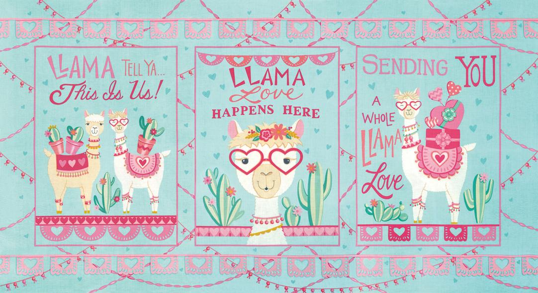 Llama Love 19920-13 Panel Aqua Mint