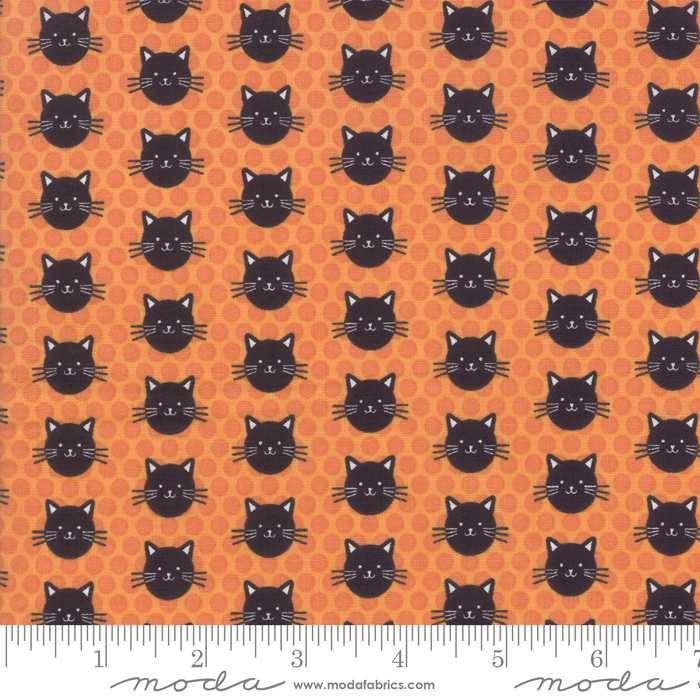 Midnight Magic Pumpkin Kitty Kitty by April Rosenthal for Moda 24083-12