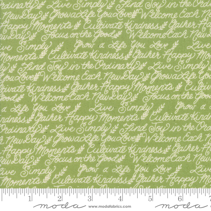 Cultivate Kindness - Farmhouse Phrases,  Moss Green - by Deb Strain for Moda Fabrics