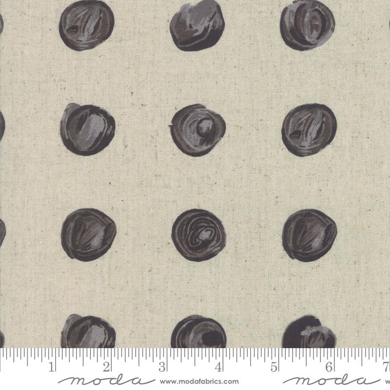 Chill Mochi Linen - Dots - Linen Charcoal