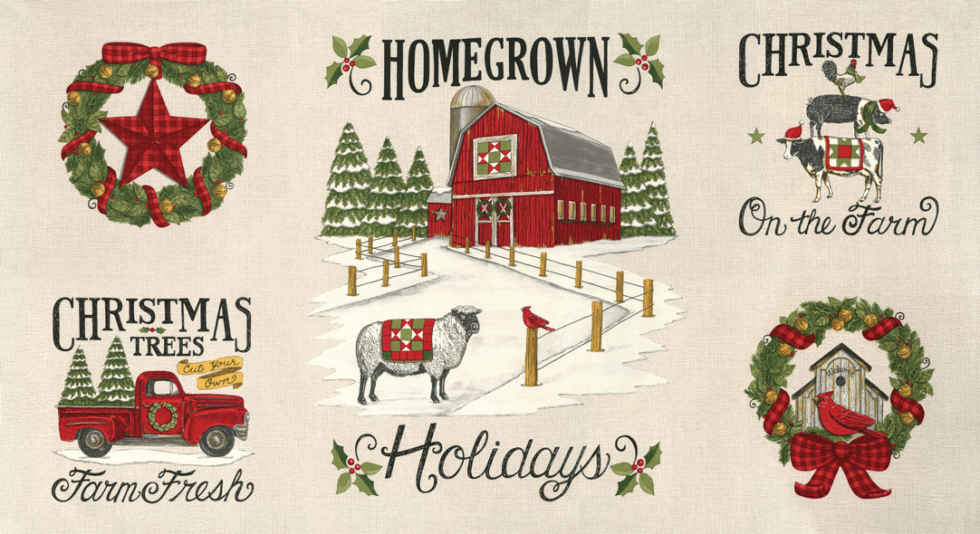 Homegrown Holidays PANEL by Deb Stain for Moda 19940 11 Winter White