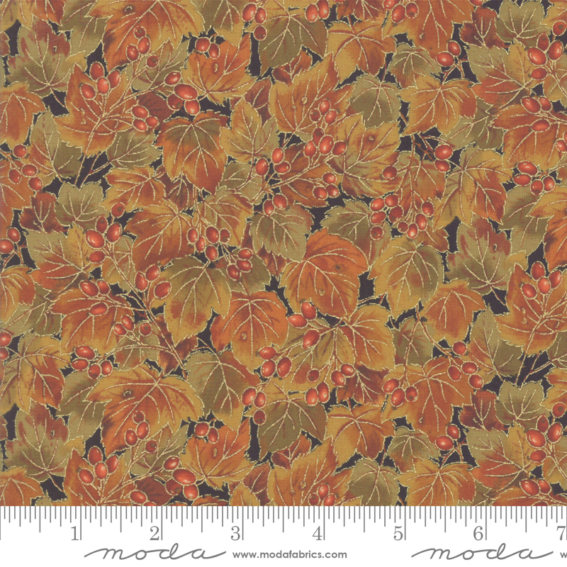 33532 17M Arboretum Metallic Leaves/Berries Ebony by Moda