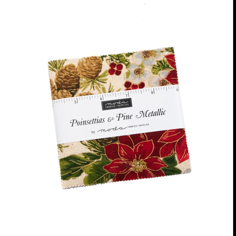 Poinsettias Pine Metallic Charm