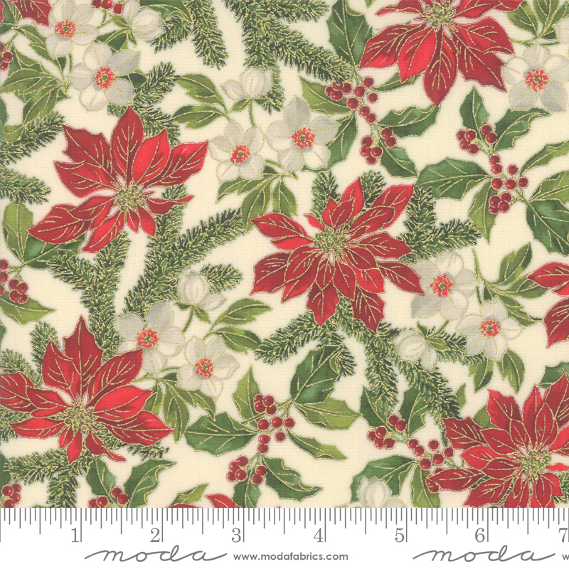 Poinsettias Pine Cream Metallic