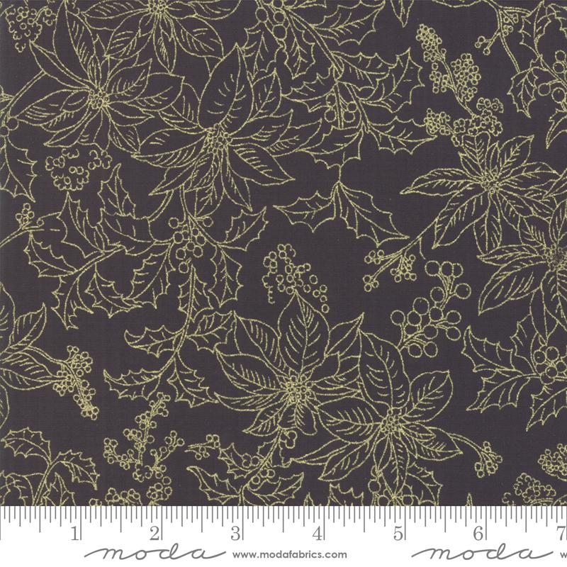 SPECIALTY FABRICS:  Poinsettias Outlined in Gold Metallic on Black:  Poinsettias & Pine Metallic by Moda