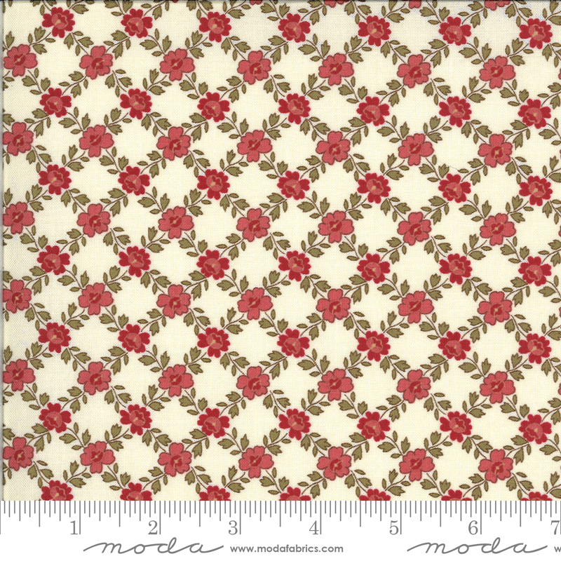 La Rose Rouge  by French General - Floral Trellis - Natural - Moda 13886 13