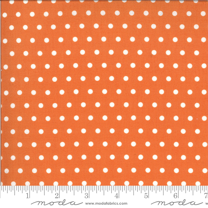 Moda Squirrelly Girl Dots - Pumpkin (0.8m remnant)
