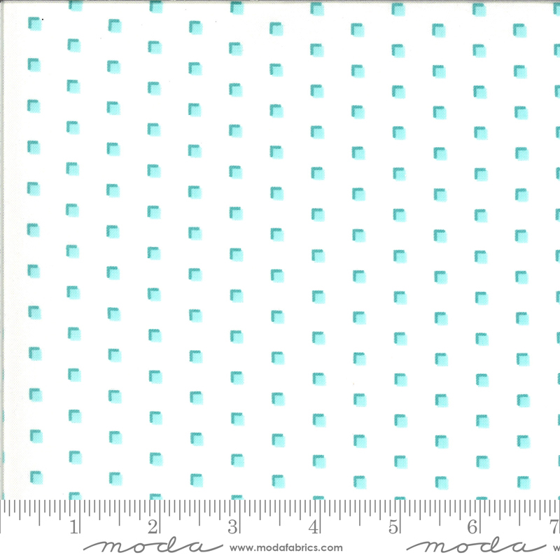 Homestead by April Rosenthal - Squares - White/Turquoise - Moda 24096 23