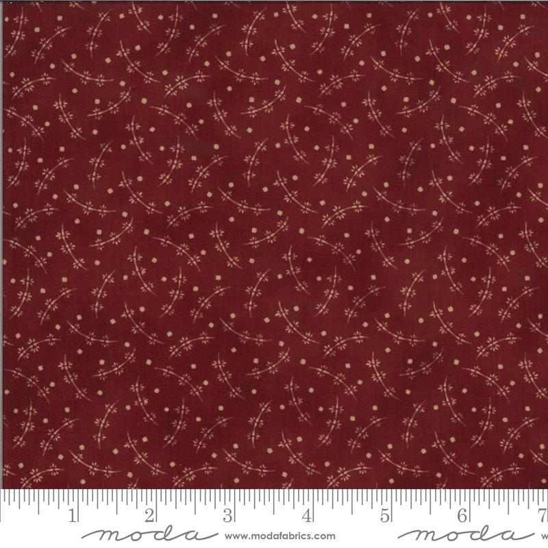 Redwork Dark Red Vine w/squares
