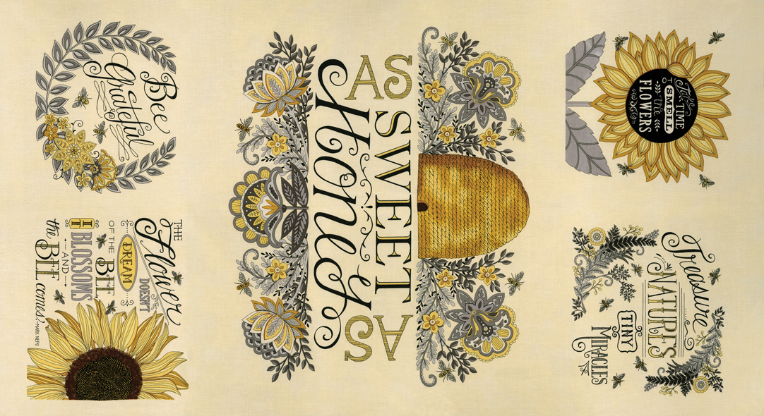 Bee Grateful Panel Parchment 24 X 44