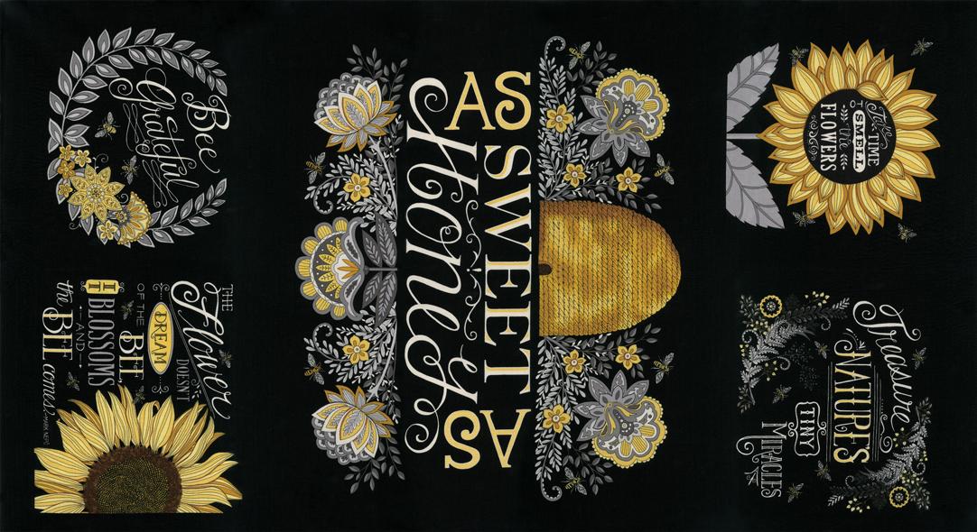 Bee Grateful Panel Ebony 24 x 44