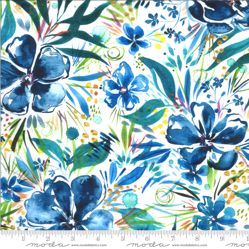 8442 11D Moody Bloom Digital Effloresce Indigo by the Create Joy Project for Moda