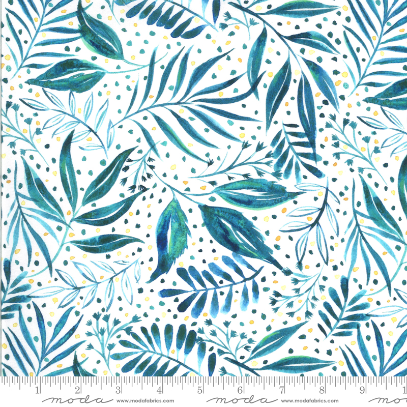 8445 14D Moody Bloom Digital Breezy Botanical Teal by the Create Joy Project for Moda