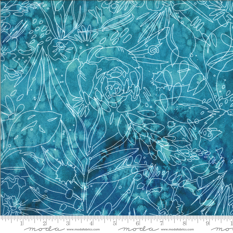 8447 15D Moody Bloom Digital Her Garden Teal by the Create Joy Project for Moda