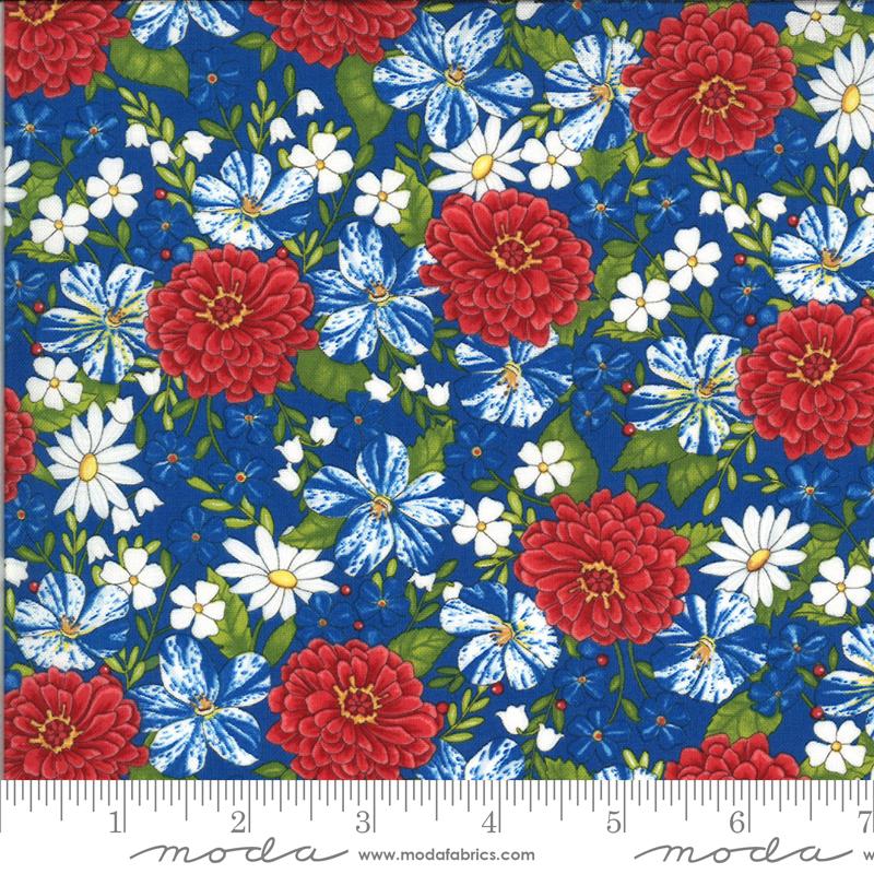 America The Beautiful - Lake Blue Patriotic Posies - By Deb Strain For Moda Fabrics