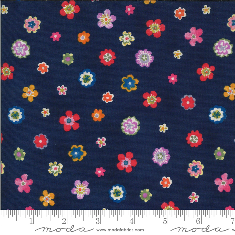 Lulu by Chez Moi for Moda  Flowers Navy