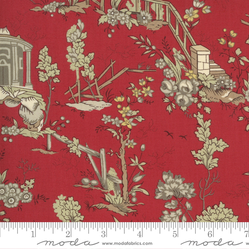 Jardin De Fleurs - Rouge - 100% Cotton