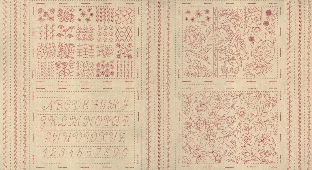 Broderie Linen Panel Rouge