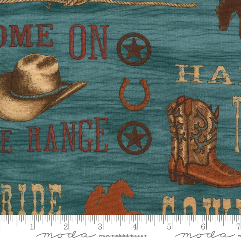 Moda Home On The Range 19991-13  Turquoise Rodeo Words