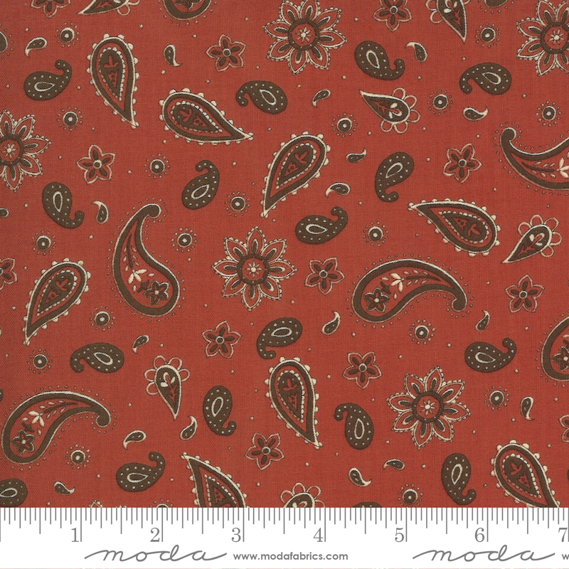 Moda Home On The Range 19995-12 Clay Red Paisley
