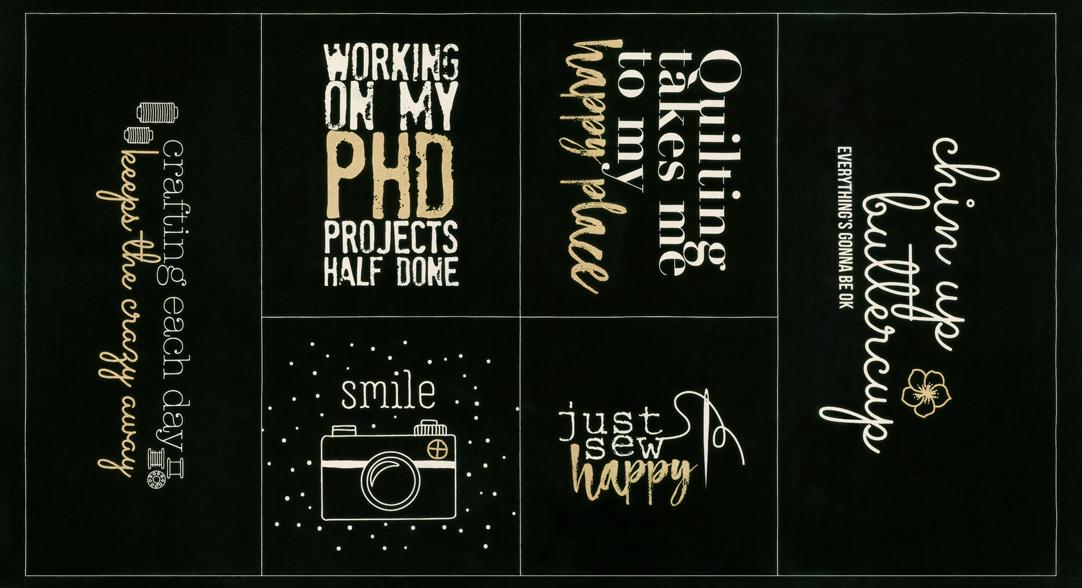 Sew Happy Canvas Panel Black