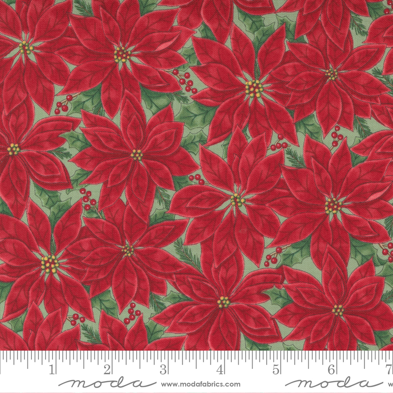 Home Sweet Holidays- Floral Poinsettia Red Green