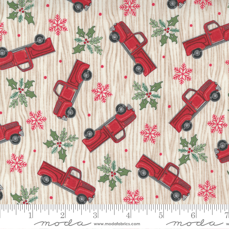 Home Sweet Holidays - Truck Snowflake Holly Pine Red