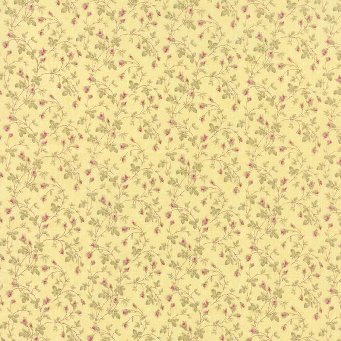Moda 3 Sisters Fav Lemon Rose Buds On Yellow Cotton Quilting Fabric