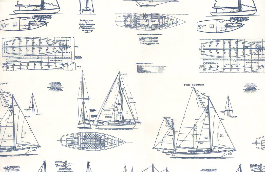 Blueprint Sailboats Passport Ships Sail Quilt Fabric Cotton Fabric MO117