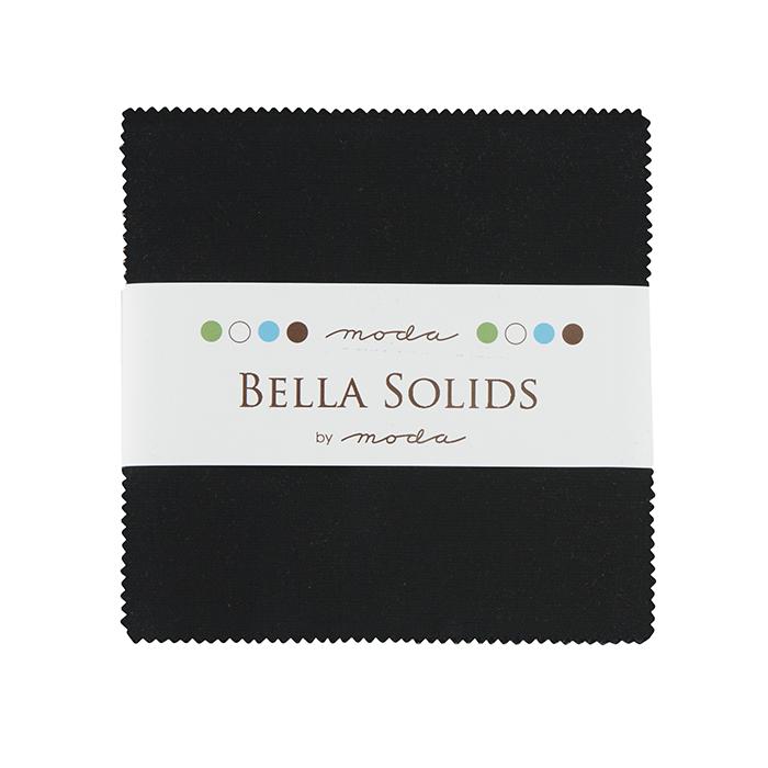 Bella Solids Black  Charm Pack