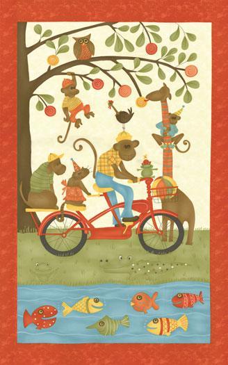 Lollipop Monkeys riding bikes,  fish, alligator