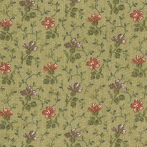 Lilac Hill Sweet Floral Green Yardage