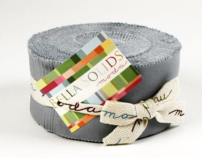 Moda - Bella Solids-Jelly Roll/Silver - 9900JR 183