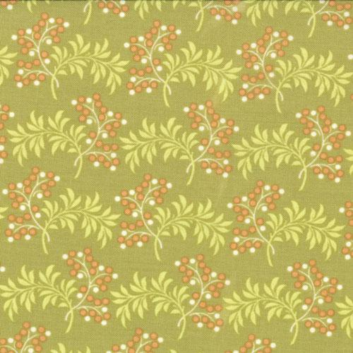 Tapestry Sangria Pear floral and leaves on green