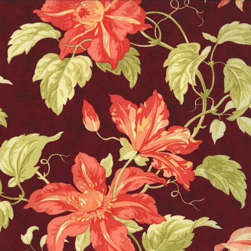 Tapestry Mallorco Garnet red floral on maroon
