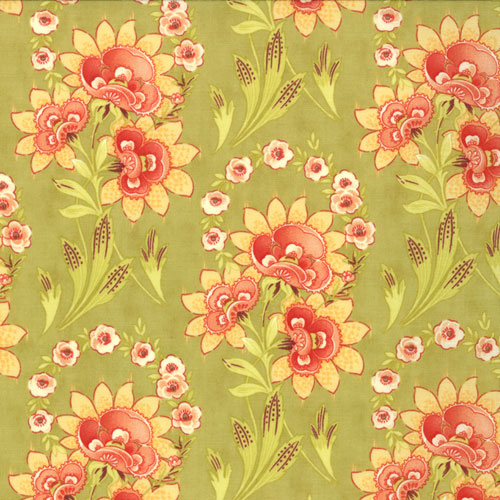 Tapestry Marskesh Pear red and yellow floral on green