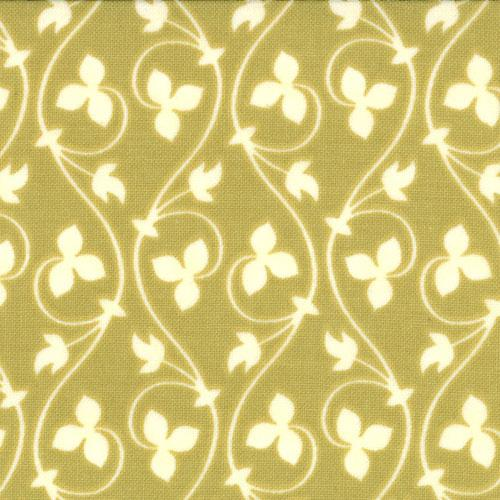 Tapestry Mosaic Pear cream leaf and vine on green