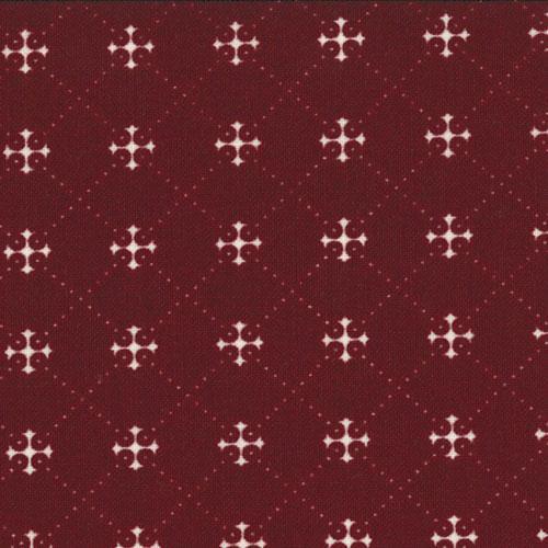 Tapestry Mezzanine Garnet cream geometric print on maroon