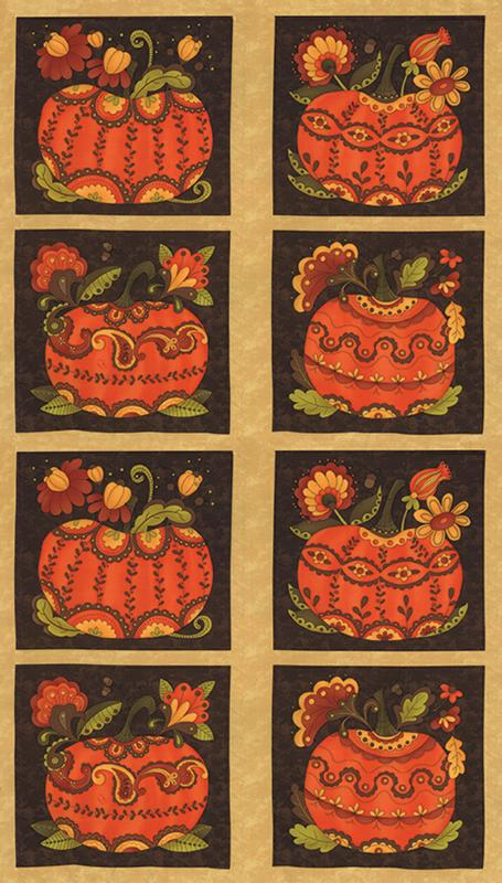 Posh Pumpkins Panel Wheat