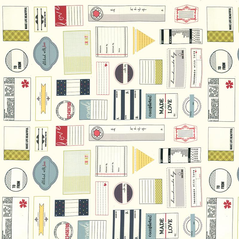 5540 Quilt Labels/Cream: Handmade With Love (12 Panel) (Sweetwater)