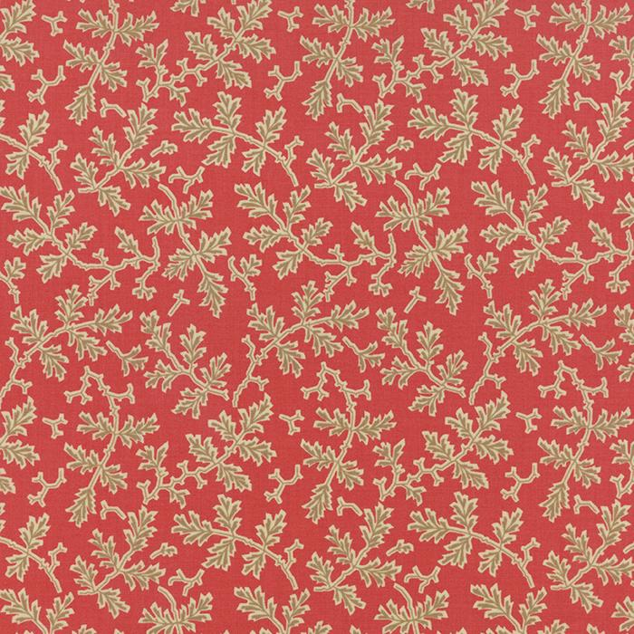 Autumn Lily Rosy Red Blooms Yardage